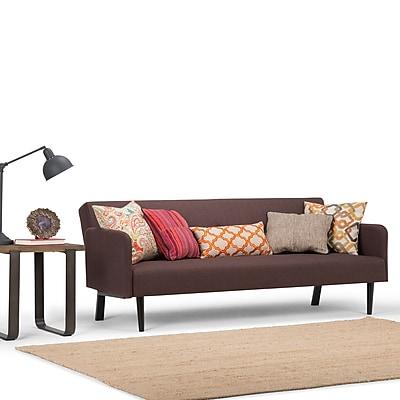 Simpli Home Ashby Linen Look Sofa Bed in Maroon Brown (AXCSOF-03-MB)