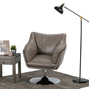 Simpli Home Jasper Air Faux Leather Swivel Chair in Taupe (AXCSWVCH-01)
