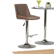 Simpli Home Tollson Bentwood Gas Lift Bar Stool in Mocha Woven Fabric (AXCTOLN-M)