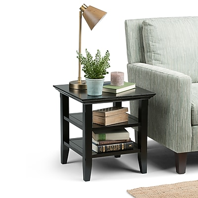 Simpli Home Acadian 19 x 19 x 20 inch End Side Table in Black (AXWELL3-003-BL)