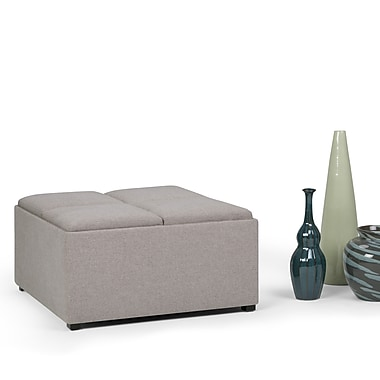 Simpli Home Avalon Linen Look Square Coffee Table Storage Ottoman in Cloud Grey (AY-F-07-CLG)