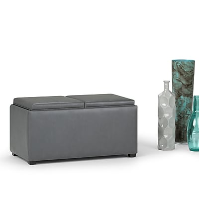 Simpli Home Avalon Faux Leather 5 piece Storage Ottoman in Stone Grey (AY-F-15B-G)
