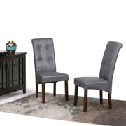 Simpli Home Cosmopolitan Faux Leather Parson Dining Chair in Stone Grey (Set of 2) (WS5109-4-G)