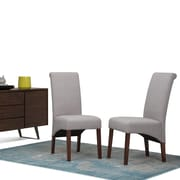 Simpli Home Avalon Linen Look Fabric Parson Dining Chair in Cloud Grey (Set of 2) (WS5134-CLG)