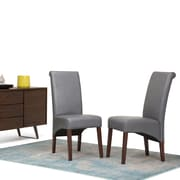 Simpli Home Avalon Faux Leather Parson Dining Chair in Stone Grey (Set of 2) (WS5134-G)