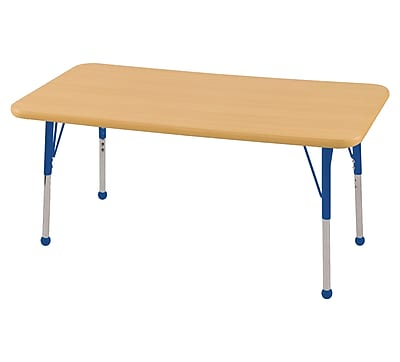 """ECR4Kids Thermo-Fused Adjustable Ball 48"""" x 24"""" Rectangle Laminate Activity Table Maple/Maple/Blue (ELR-14207-MPMPBLTB)"""