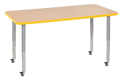"ECR4Kids T-Mold Adjustable Leg 60"" x 30"" Rectangle Laminate Activity Table Maple/Yellow/Silver (ELR-14111-MYESV-SL)"
