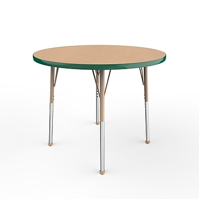 "ECR4Kids T-Mold Adjustable Ball 36"" Round Laminate Activity Table Maple/Green/Sand (ELR-14114-MGNSD-SB)"