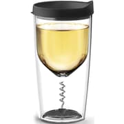 ASOBU Vino2Go Glass with Double-Walled Acrylic Insulated Wine Bottle Opener Cup and Corkscrew, 12 oz., Black (VOC1-BLACK)