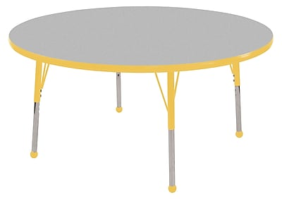 "ECR4Kids Thermo-Fused Adjustable Ball 60"" Round Laminate Activity Table Grey/Yellow (ELR-14224-GYYEYESB)"