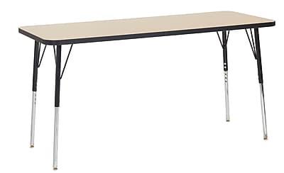 ECR4Kids Thermo-Fused Adjustable Swivel 60x24 Rectangle Laminate Activity Table Maple/Black (ELR-14208-MPBKBKSS)