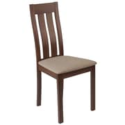 Flash Furniture Polyester Wide Vertical Slat Back Dining Chair, Walnut (ESCB2442YBHWCR)