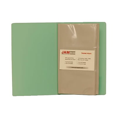 JAM Paper® Business Card Book, Holds 120 Cards, Light Green, Sold Individually (221114744)
