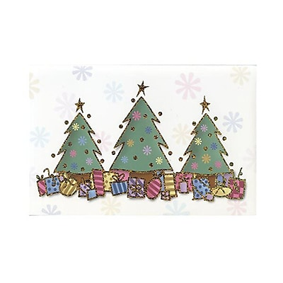 JAM Paper® Christmas Card Set, 3 Trees and Presents Modern, 10/Pack (W82044)