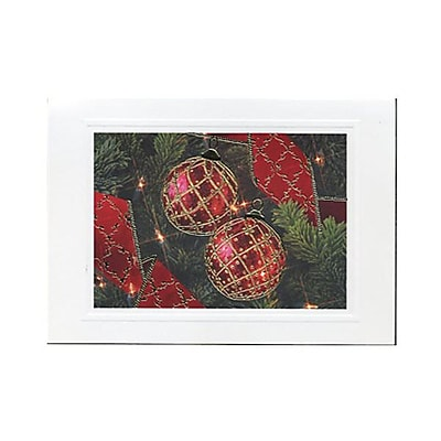 JAM Paper® Christmas Card Set, Gold Border Ornaments Modern, 10/Pack (W2564)