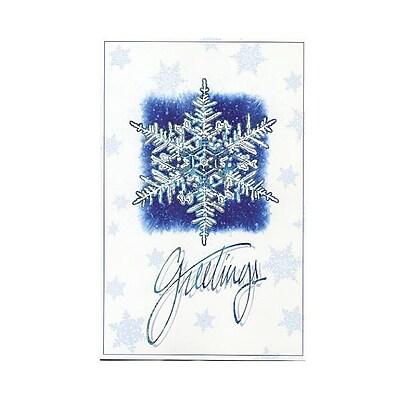 JAM Paper® Christmas Card Set, Snowflake Greetings Modern, 10/Pack (W99544)