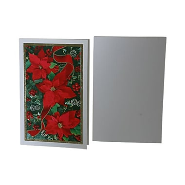 JAM Paper® Christmas Card Set, Modern, Poinsettia, 10/Pack (8156228)