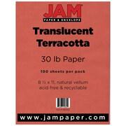 JAM Paper® Translucent Vellum Paper, 8.5 x 11, 30lb Terracotta Red, 100 Sheets/Pack (15911292)