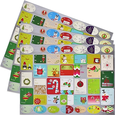 JAM Paper To/From Stickers, Cheerful Christmas, 120/Pack