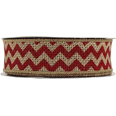 JAM Paper® Chevron Burlap Ribbon, 1.5 Wide x 10 yards, Natural with Red Chevron, Sold Individually (344229692)