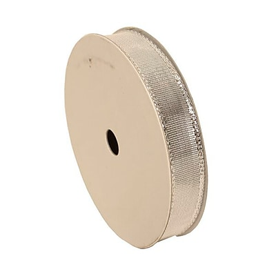 JAM Paper® Wire Edged Ribbon, 1.5 x 3 yards, Silver, Sold Individually (2210216380)