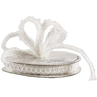 JAM Paper® Nylon Knit Decorative Ribbon, 3 Yards, White Metallic, Sold Individually (E797301)