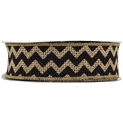 JAM Paper® Chevron Burlap Ribbon, 1.5 Wide x 10 yards, Natural with Black Chevron, Sold Individually (344229693)