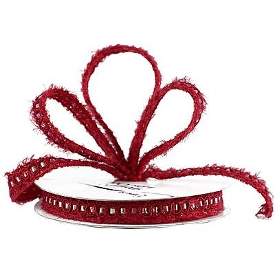 JAM Paper® Nylon Knit Decorative Ribbon, 3 Yards, Red Metallic, Sold Individually (E797313)