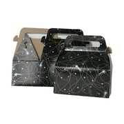 """JAM Paper® Gable Gift Box with Handle, Small, 3.25"""" x 6"""" x 3"""", Black Shooting Stars Design, Sold Individually (4353509)"""