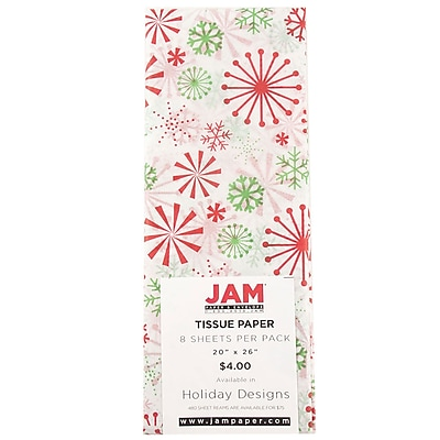 JAM Paper® Tissue Paper, Christmas Holiday Design with Red & Green Snowflakes, 8 Sheets/Pack (11830712)