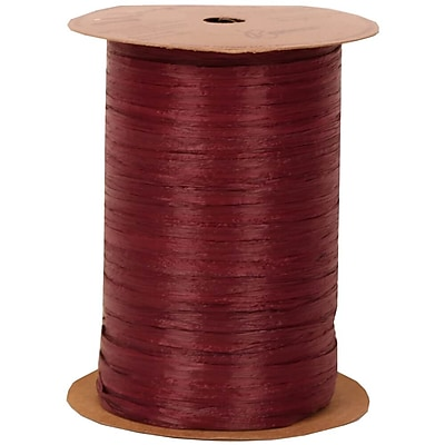 JAM Paper Wraphia Ribbon, Burgundy, 100 yards,