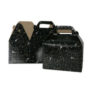 "JAM Paper® Gable Gift Box with Handle, Medium, 4"" x 8"" x 5.25"", Black Shooting Stars Design, Sold Individually (4353517)"