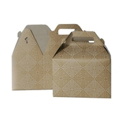 "JAM Paper® Gable Gift Box with Handle, Medium, 4"" x 8"" x 5.25"", Gold and Kraft Design, Sold Individually (4353520)"