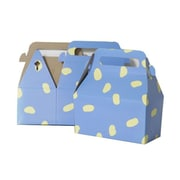"JAM Paper® Gable Gift Box with Handle, Small, 3.25"" x 6"" x 3"", Blue and Yellow Dots Design, Sold Individually (4353510)"