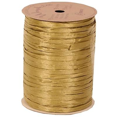 JAM Paper Wraphia Ribbon, Gold, 100 yards,