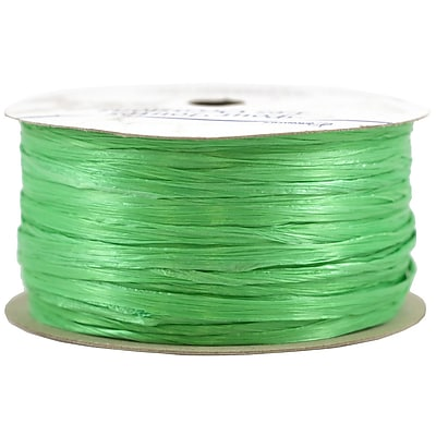 JAM Paper® Wraphia Ribbon, Pearlized Lime Green, 60 feet per Spool, Sold Individually (PL760609)