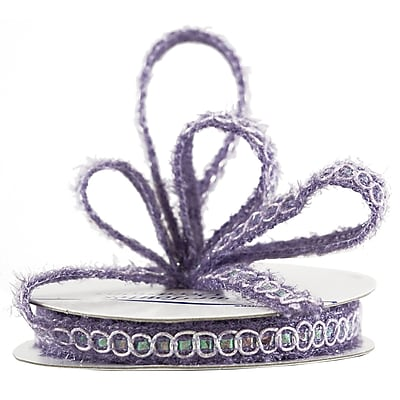 JAM Paper® Nylon Knit Decorative Ribbon, 3 Yards, Lavender Metallic, Sold Individually (E797308)