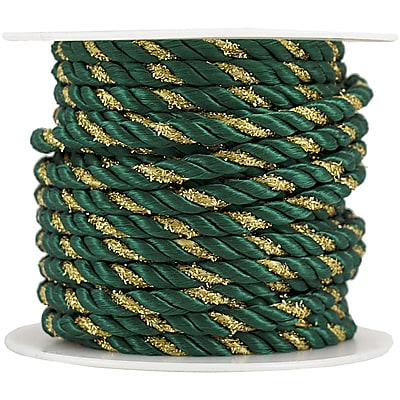 JAM Paper® Decorative Rope Ribbon, 15 Yards, Green with Gold, Sold Individually