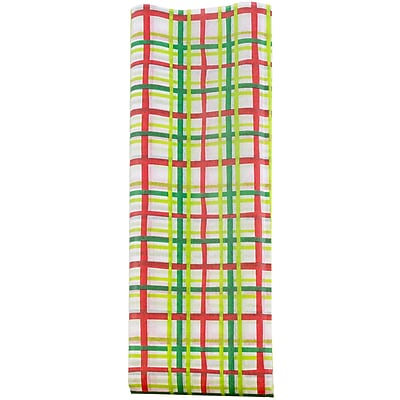 JAM Paper® Holiday Tissue Paper, Cheerful Plaid, 8/Pack (11834124)
