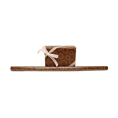 JAM Paper® Wrapping Paper Rolls, 12.5 Sq. Ft., Chocolate Brown Circle Design, Sold Individually (77811494)