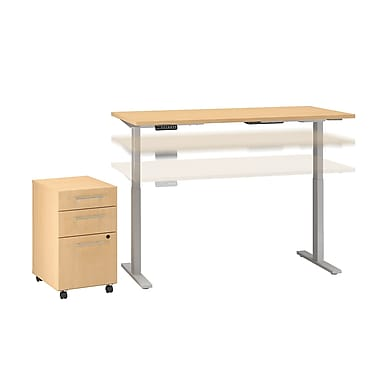 Move 60 by Business Furniture 72W x 24D Height Adjustable Standing Desk with Storage - Installed, Natural Maple (M6S009ACFA)