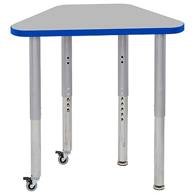 "ECR4Kids T-Mold Adjustable 30"" x 18"" Trapezoid Laminate Activity Table Grey/Blue/Silver (ELR-14118-GBLSV-SL)"