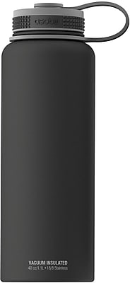 ASOBU The Mighty Flask Wide Mouth Insulated Water Bottle, Stainless Steel, Black, 40 oz. (TMF1-BLACK)