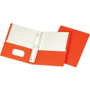 "LUX 9"" x 12"" Presentation Folders w/ Brads 250/Pack, Orange (12ORANGEBRAD250)"