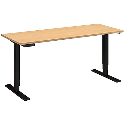 Move 80 Series by Bush Business Furniture 60W x 24D Height Adjustable Standing Desk, Natural Maple (HAT6024ACBK)