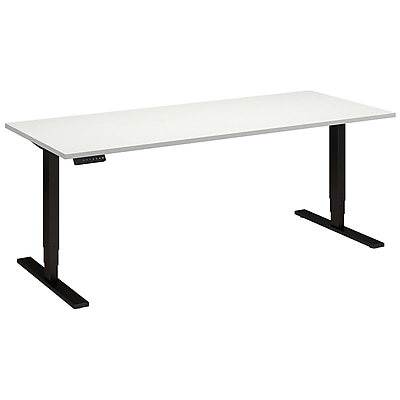 Move 80 Series by Bush Business Furniture 72W x 30D Height Adjustable Standing Desk, White (HAT7230WHBK)