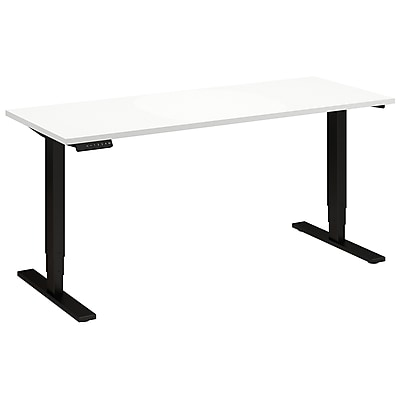 Move 80 Series by Bush Business Furniture 60W x 24D Height Adjustable Standing Desk - Installed, White (HAT6024WHBKFA)