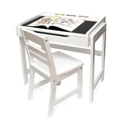 "Lipper International® 654WH 24 3/4""W x 18""D Child's Desk and Chair Set with Chalkboard Top, White"