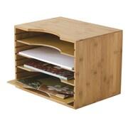 "Lipper International® Bamboo 4 Dividers File Organizer, Brown, 9 1/2"" x 12 3/4"" x 9 1/4"" (811)"