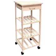 """Lipper International® 33-1/2""""H x 14-1/2""""W x 14-1/2""""D Bamboo Space-Saving Cart with 1 Drawer, White (8914W)"""